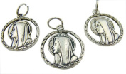 Lot of 3!! Catholic Keepsake Gift Lead Free Zinc Alloy Metal 2.2cm Cut Out Madonna Blessed Virgin Mary with Our Lady of Lourdes Pendant Charm