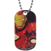 Stainless Steel Marvel Dog Tag with Bead Chain - Iron Man