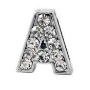 "12x Alphabet Slide Charm, Letter ""A"", 8mm"