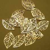BeadsTreasure 20 Leaf Charm Pendant Connector Hollow Cut Gold Plated Jewellery Making Finding Supply.