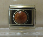 9mm Italian Charm... With a Rust Brown Round Stone