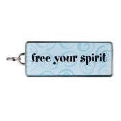 """Rectangle Word Charm - """"free your spirit"""""""