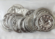 ~ Jingle Charm Coins ~ Lightweight aluminium ~ Silver Plated 30mm