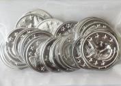 ~ Jingle Charm Coins ~ Lightweight aluminium ~ Silver Plated 30mm