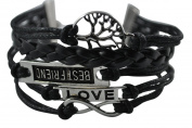 BlueTop(TM) Vintage Infinity Silver Karma Wish Tree Best Friend Love Black Rope Leather Bracelet