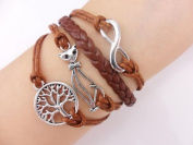 BlueTop(TM) Vintage Silver Infinity Symbol Bracelet Wish Tree Cute Cat Coffee Rope Knit Punk Style