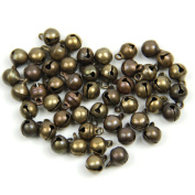 Estone 50Pc Vintage Bronze Colour Alloy Small Jingle Bell Pendant Charm Jewellery Findings