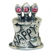 European Style silver plate bead birthday cake with dark pink stones [Kitchen]
