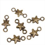 Star Charms Fit Adjustable Rope Bracelet Antique Bronze Connector Wish Symbol 100pcs