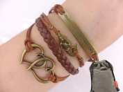 Mermaid Bracelet Vintage Bronze Coffee Rope Knit Heart Adage Punk Simple Charms