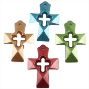 Mixed Colours Hollow Cross Style Acrylic Spacer Beads in Bulk for Craft Making 35