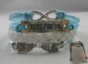 Vintage Silver Infinite Best Friend Owl Karma Bracelet Blue Knit Rope Handmade