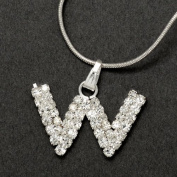 Initial Letter W, Alphabet Necklace, Crystal Rhinestone Pendant Necklace, Crystal/Silver, NEC-2123