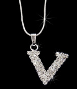 Initial Letter V, Alphabet Necklace, Crystal Rhinestone Pendant Necklace, Crystal/Silver, NEC-2122