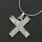 Initial Letter X, Alphabet Necklace, Crystal Rhinestone Pendant Necklace, Crystal/Silver, NEC-2124