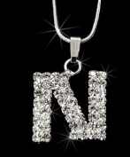 Initial Letter N, Alphabet Necklace, Crystal Rhinestone Pendant Necklace, Crystal/Silver, NEC-2114