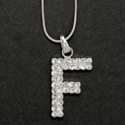 Initial Letter F, Alphabet Necklace, Crystal Rhinestone Pendant Necklace, Crystal/Silver, NEC-2116
