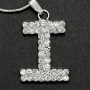 Initial Letter I, Alphabet Necklace, Crystal Rhinestone Pendant Necklace, Crystal/Silver, NEC-2109