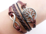 Handmade Antique Silver Wish Tree Karma Infinity Bracelet Coffee Black Rope