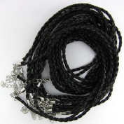 """3mm black braided leather cord necklace 18"""" strand"""