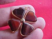 Gemqz C6911 Brown Agate Cloverleaf Charm Cute !!!!