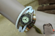 Elegant Strap Alloy Wristwatch White Leather Vintage Bronze Leaf Quartz Bracelet