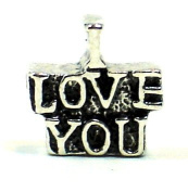 "Plated ""I Love You"" European Style Bead Charm"