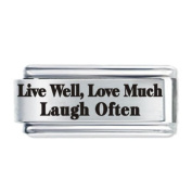 JSC Jewellery Live Well, Love Much, Laugh Often, Etched Italian Charm Fits Nomination Classic Bracelet