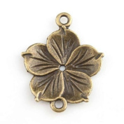 Flower Charms Fit Adjustable Rope Bracelet Antique Bronze Connector - 30pcs