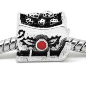 """ Santa's Sleigh Full of Toys ""Charm Bead Fits Pandora Troll Chamilia Biagi Bracelet and Many More Style Bracelets.."