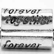 """ Forever Together ""Antique'd Silver Bead Charm Spacer Pandora Troll Chamilia Biagi Bead Compatible"