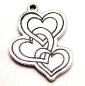 Triple Hearts Love Pewter Charm