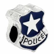 """ Police"" Police Officer Badge Blue Enamel Charm Bead Silver Plated Charm Bead Pandora Troll Chamilia Kay Zable Compatible"