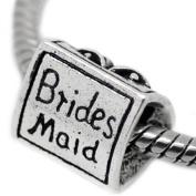 """ Bridesmaid "" 3 Sided Silver Charm w/ Dress , Wedding Bells Bead Pandora Troll Chamilia Compatible"