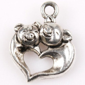 30pcs Charms Double Pig Heart-shaped Antique Silver Alloy Findings Fit DIY