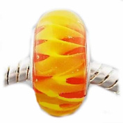 "Troll Style Exquisite Limited Edition "" Flames in Murano Glass "" Charm Bead Compatible with Pandora Chamilia Kay Troll Bracelet"