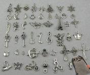 Wholesale 50pcs Bulk Lots Tibetan Silver Plated Mixed Pendants Charms Jewellery