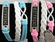 2pcs Vintage Silver Infinity Charm Bangle Blue Bright-pink Suede Best Friend Bracelet