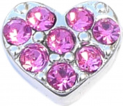 Pink CZ Heart Floating Locket Charm