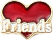 Friends On Red Heart Floating Locket Charm