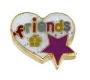 Friends in Heart with Star Floating Locket Charm