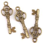 50pcs Antique Bronze Keys Alloy Handmade Charms Embellishments