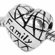 """ Family on Heart "" Antique'd Silver Bead Charm Spacer Pandora Troll Chamilia Biagi Bead Compatible"