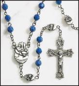 Silver Gild Blue Pro Life Beads Rosary Palm Hand Baby Cross Crucifx Pray Live