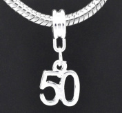 European Style Happy 50th Birthday Dangle Charm Bead. Compatible With Troll, Zable, Baigi, Chamilia, And Many More Charm Bracelets.