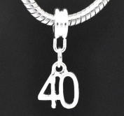European Style Happy 40th Birthday Dangle Charm Bead. Compatible With Troll, Zable, Baigi, Chamilia, And Many More Charm Bracelets.