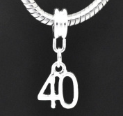 European Style Happy 40th Birthday Dangle Charm Bead. Compatible With Troll, Zable, Baigi, Chamilia, And Many More Charm Bracelets.