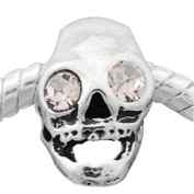 "Clear Crystal Rhinestone ""Skull"" European Style Charm Bead. Compatible With Troll, Zable, Baigi, Chamilia, And Many More Charm Bracelets."