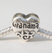 "#2 Heart Shape ""Grandma"" European Style Charm Bead. Compatible With Troll, Zable, Baigi, Chamilia, And Many More Charm Bracelets."