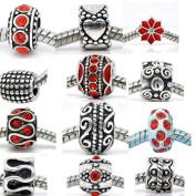 Ten (10) Rhinestone Charm Beads in Assorted Colours to Choose From Fits Pandora Charm Bead Bracelet